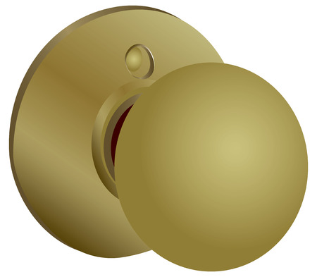 key hole: Round doorknob latch systems for a yellow hue. Vector illustration.