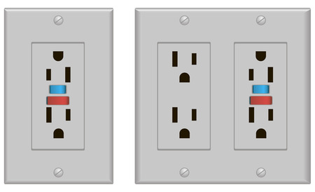 electric current: Classic Sockets U.S. version with fuse. Vector illustration.