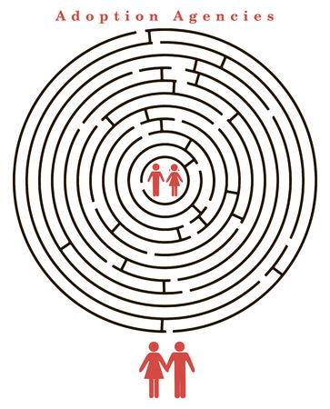 adoption: Children for adoption within the maze.  Illustration