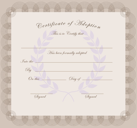 The official certificate of adoption