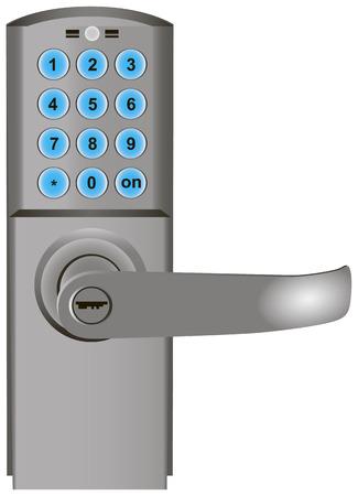 Digital code door lock with keypad entry system.