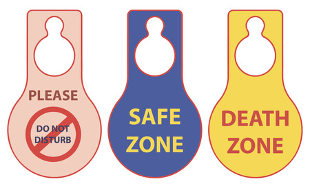 hangers: Warning plate on the doorknob death and  safe zone Illustration
