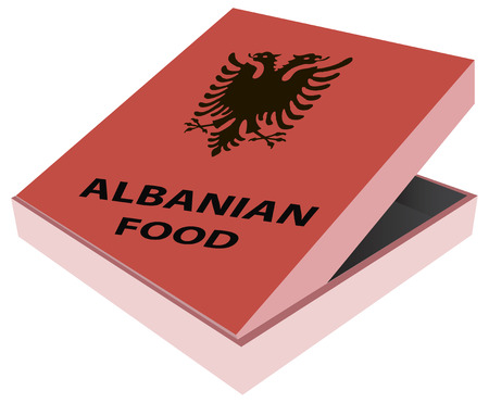 Cardboard box with the Albanian food. Vector illustration. Çizim