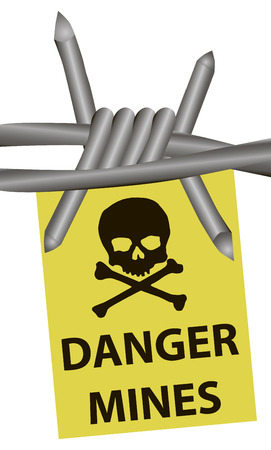 stockade: Danger mines and barbed wire. Vector illustration.
