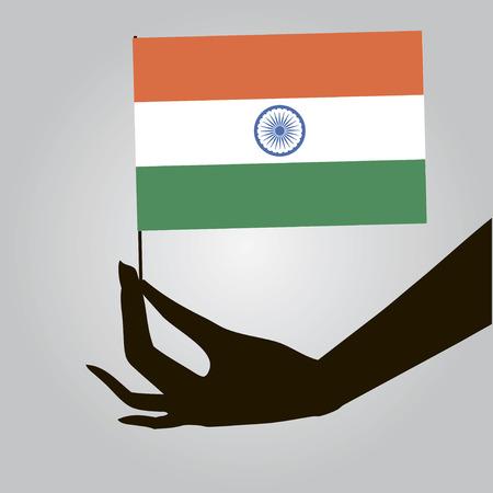 여성 손에 인도의 국기입니다. 벡터 일러스트 레이 션.
