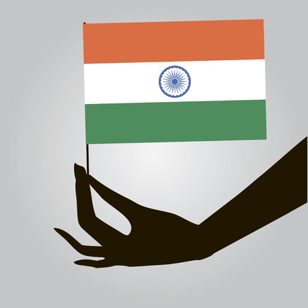 Flag of India in a female hand. Vector illustration. Ilustrace