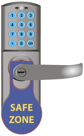 secret code: Safe Zone message doors Door Opener. Vector illustration.