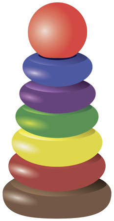stacking: Pyramid stacking ring toy for childrens creativity. Vector illustration.