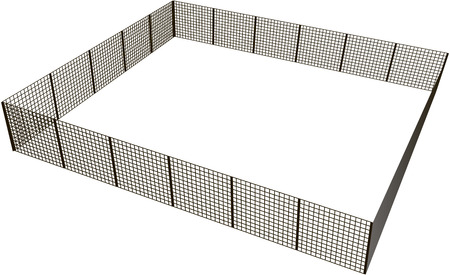 enclosure: Closed rectangular fence of mesh sections. Vector illustration.