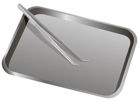 Medical Forceps on a metal tray. Vector illustration.