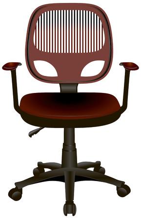 armrests: Modern office chair with armrests on wheels. Vector illustration.