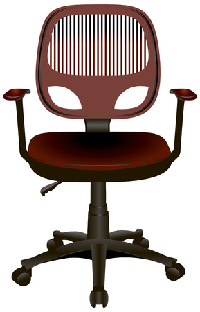 Modern office chair with armrests on wheels. Vector illustration.