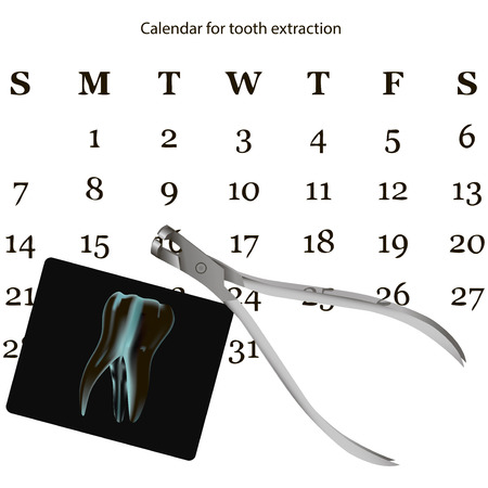 Calendar with the date of removal of the tooth at the dentist.