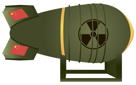 atomic bomb: Chinese aviation atomic bomb for a thermonuclear war. Vector illustration.