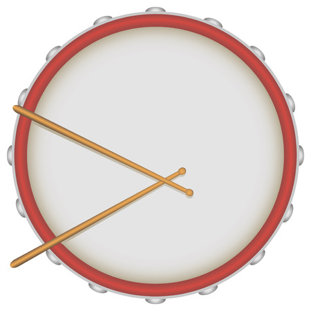 Drum with drumsticks, the view on the work surface. Vector illustration.