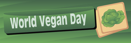 Banner to the World Vegetarian Day with cabbage. Vector