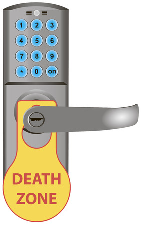 Death zone warning information on the doors the door lock. Vector illustration.