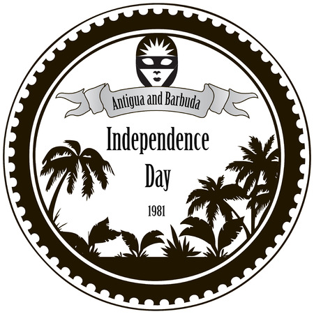 Stamp imprint Independence Day Antigua and Barbuda. Vector illustration. Vector