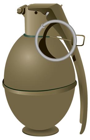 hand grenade: Army hand grenade to destroy enemy personnel. Vector illustration.