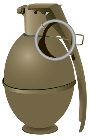 Army hand grenade to destroy enemy personnel. Vector illustration.