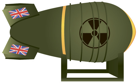 chaser: Aviation UK atomic bomb thermonuclear strike. Vector illustration.