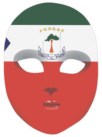 guinea equatoriale: Estratto maschera Guinea Equatoriale stilizzato bandiera di stato. Illustrazione vettoriale.