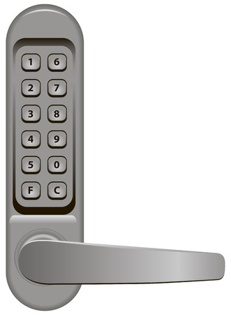 private access: Door handle with combination lock. Vector illustration.