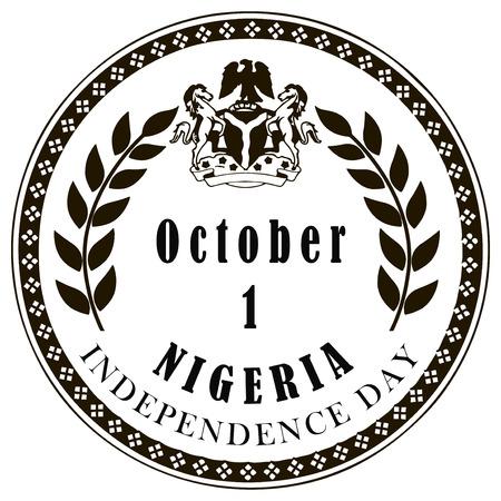 symbolic: Symbolic stamp mark Independence Day in Nigeria. Vector illustration.