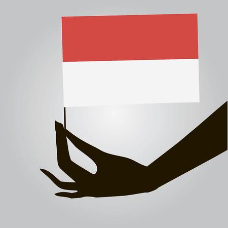 여성 손에 인도네시아의 국기입니다. 벡터 일러스트 레이 션. 일러스트