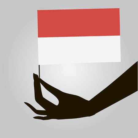 Flag of Indonesia in a female hand. Vector illustration.