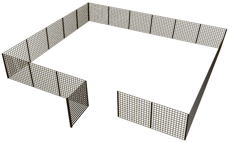 Open the gates of a rectangular fence mesh sections. Vector illustration.
