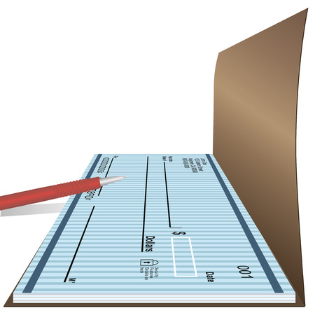 checkbook: Open checkbook with a red pen. Vector illustration. Illustration