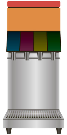 Drinking a beverage dispenser on four industrial purposes. Vector illustration.