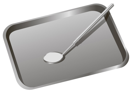 Dental tray with mirror to inspect the teeth.