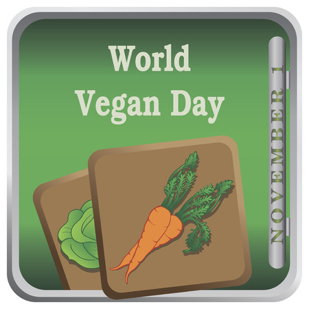Button World Vegan Day with vegetables. Vector