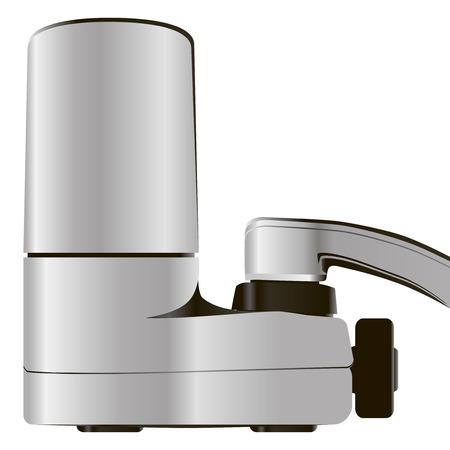 kunststoff rohr: Haushaltsarmatur mit Attachment-Filter. Vektor-Illustration. Illustration