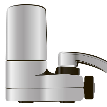Household faucet with attachment filter. Vector illustration.