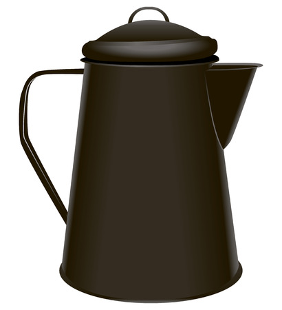 hiking: Steel coffee pot for hiking and camping. Vector illustration.