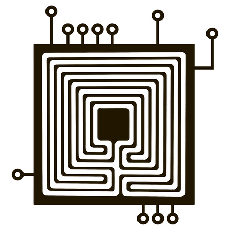 Classical electrical connection for the electrical components. Vector illustration.