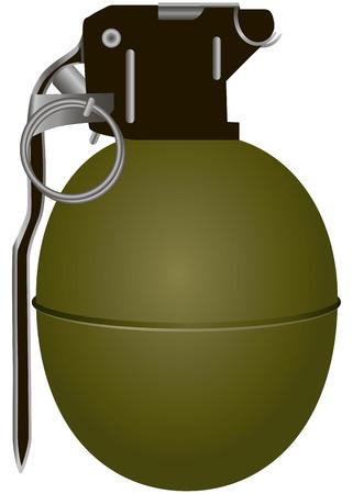 Hand antipersonnel grenade in smooth steel shell. Vector illustration. Vector