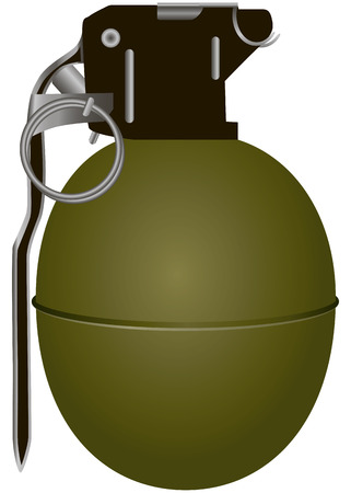 the destroyer: Hand antipersonnel grenade in smooth steel shell. Vector illustration.