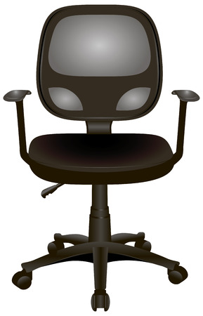 Office chair with armrests on wheels.  Vector