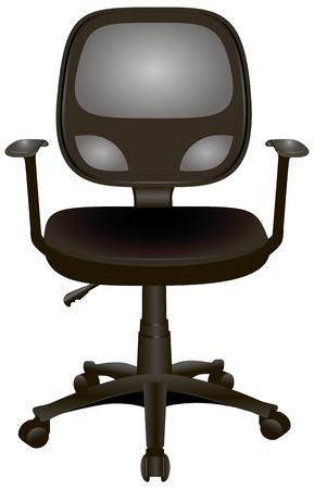 armrests: Office chair with armrests on wheels.  Illustration