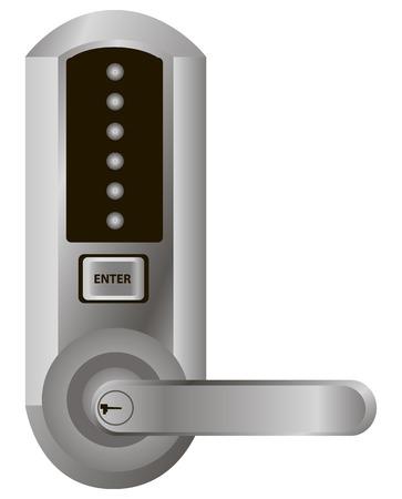 room door: Simple electronic lock on the door handle. Vector illustration. Illustration