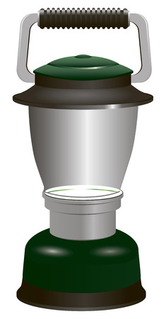 fluorescent tube: Modern battery lantern for travel and camping. Vector illustration.