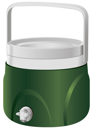 Plastic thermos with a tap on the side surface. Vector illustration. Vector