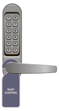 lockout: Door handle with combination lock and signboard Baby Sleeping.