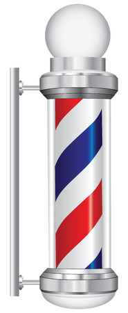 sign pole: Symbol for a barber with lamp. Vector illustration.