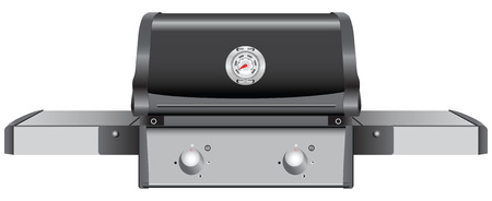 gas barbecue: Table grill with a temperature indicator. Vector illustration. Illustration