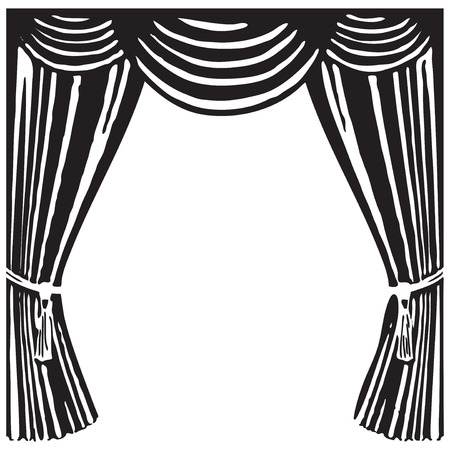 Open theater curtain - a symbol of the theater. Vector illustration.